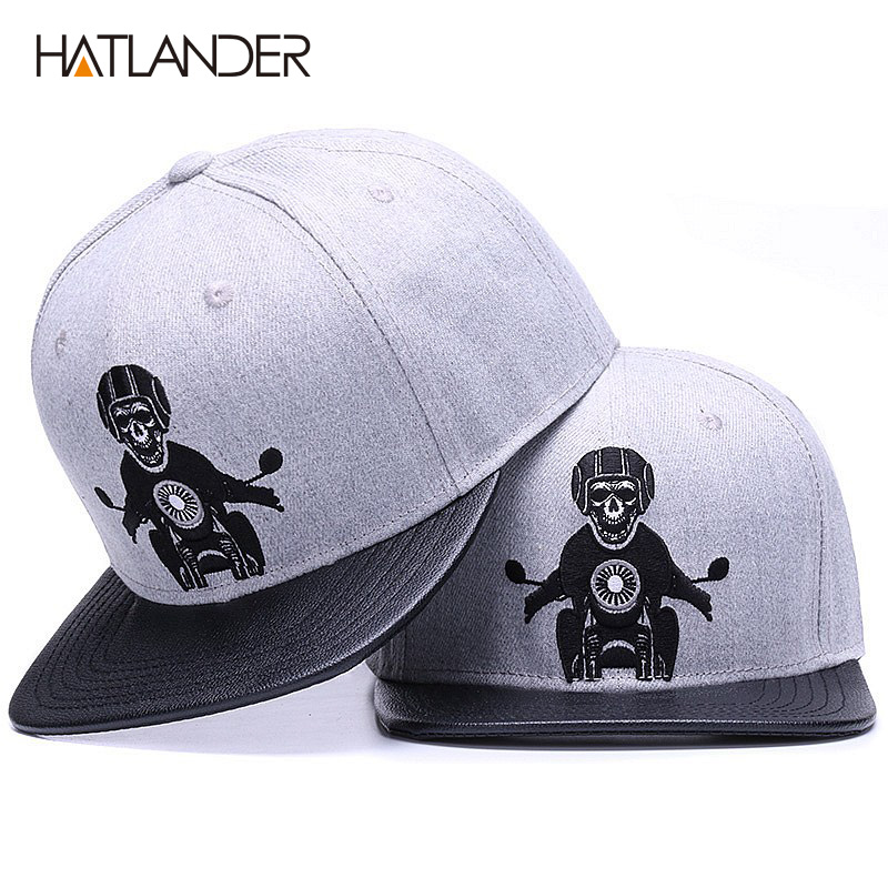 HATLANDER ORIGINAL Skeleton baseball cap adjustable men hats leather patch snapback caps gorras 6 panel bone fitted hip hop cap