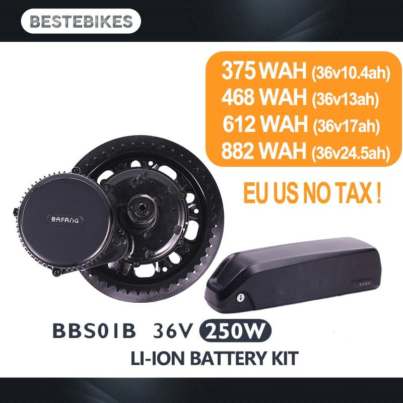 Bafang motore BBS01B 36 v 250 w elettrico kit di conversione della bici batterie velo 36 v batteria 10.4/13/ 17/24.5ah UE STATI UNITI CA AUS NZ RU NO TAX