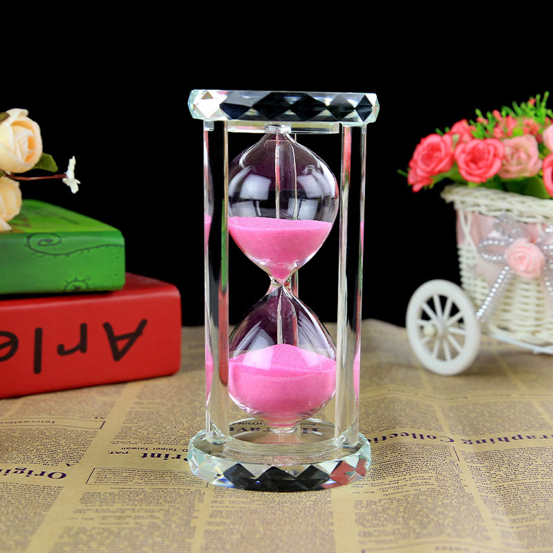 Home decorations crystal hourglass clock creative time for Crystal decorations for home