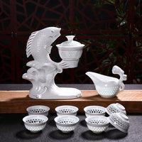 Automatic White Ceramic Hollow Transparent Blue and White Tea Pot Cup New Jingdezhen Fish Porcelain Dehua Kung Fu Tea Set Cups