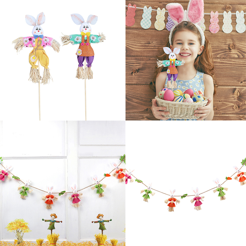 1pcs Cute Easter Rabbit Diy Toys Funny Scarecrow Rabbits Kindergarten Handmade Ornament Hanging Pendant Rabbits Party Decor