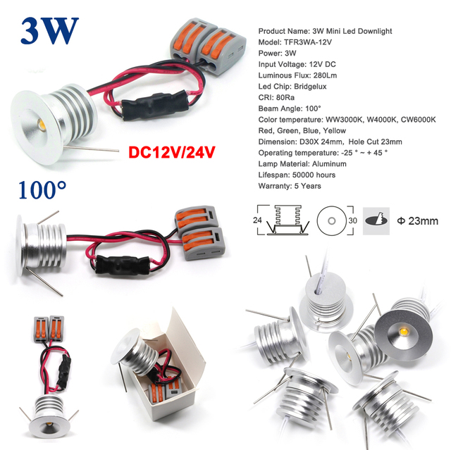 3W DC 3V 12V 24V AC 110V 220V CREE Mini Led Bulb Spot Light 23mm Spotlight for Cabinet Stair Lighting 5 Years Warranty
