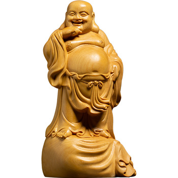 Big belly Maitreya Buddha statue yellow wood ornaments family sacrifice prayer decoration