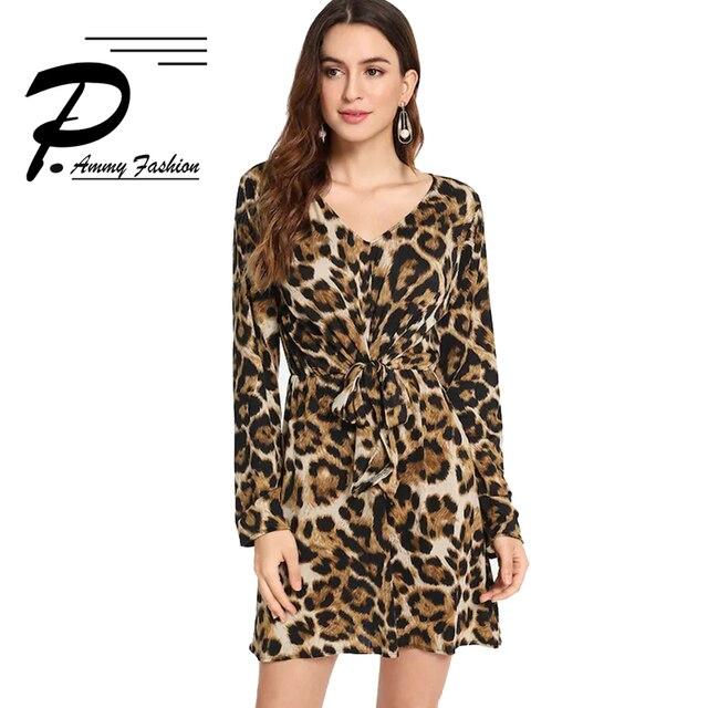 2018 Outono Nova leopardo atado halter longo-manga profundo Decote Em V vestido mulheres Moda Plus Size vestido solto elegante