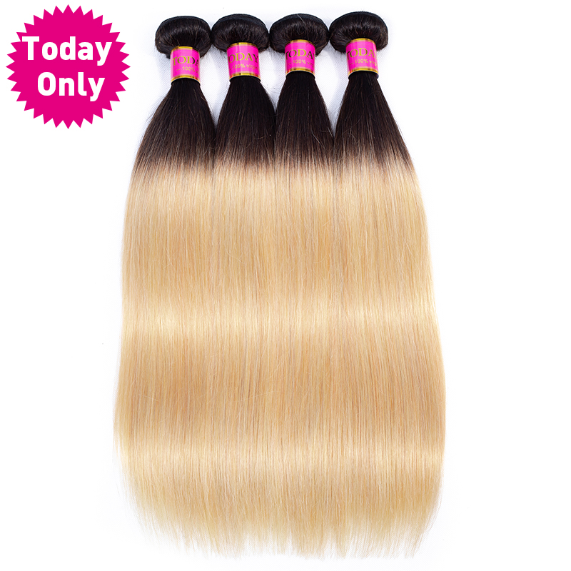 Idag ENDAST 1/3/4 Bundlar Blonda Brasilianska Straight Hair Bundles Ombre Human Hair Bundles 1b 27 Brazilian Hair Weave Bundles