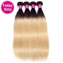 TODAY ONLY 1 / 3 4 Bundles Blonde Brazilian Straight Hair Ombre Human 1b 27 Weave