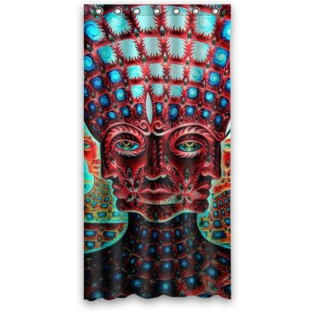 36w72h Inch Waterproof Bath Fabric Shower Curtain Abstract Psychedelic Alex Grey Trippy Art Pattern