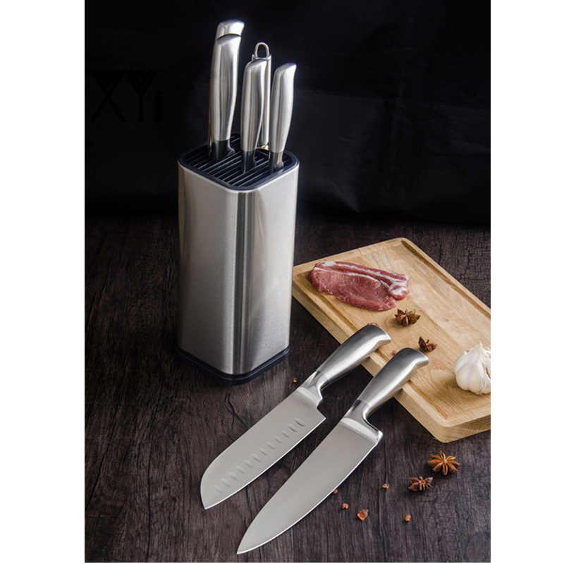 XYj Edelstahl Küche Messer Set Chef Brot Slicing Santoku Utility Schäl Messer Edelstahl Messer Halter Stehen