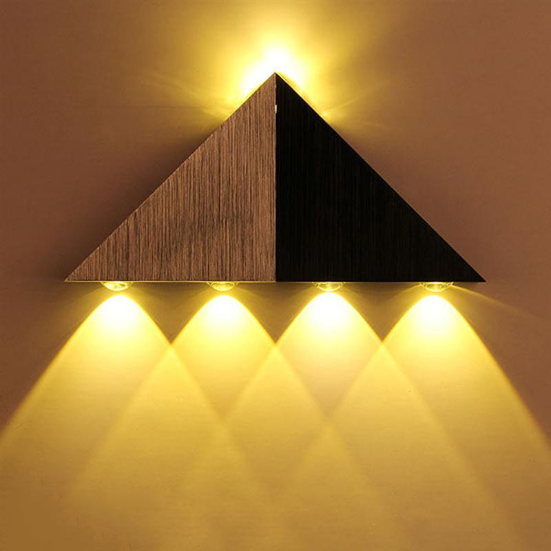 AC 90-265V 5W Stainless Steel Triangle LED Wall Light Lamp (Warm White)
