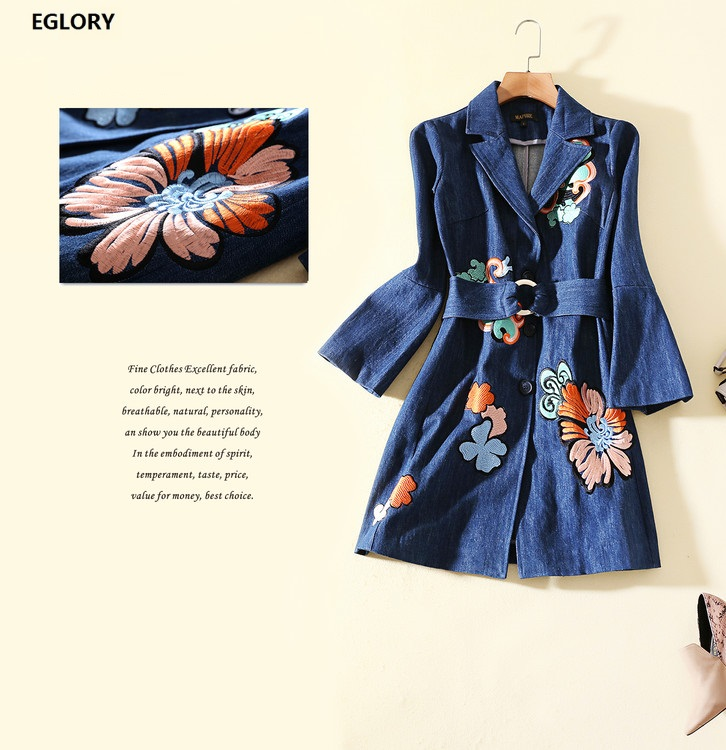 High Quality Brand Casual Coat Autumn Winter 2018 Ladies Floral Embroidery Single Breasted   Trench   Coat With Belt Woman Jean Coat