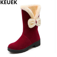 NEW Winter Children Shoes Butterfly-knot With Plush Boots Kids Girls Mid-Calf Snow Boots Child Warm Flock Baby Cotton Boots 044