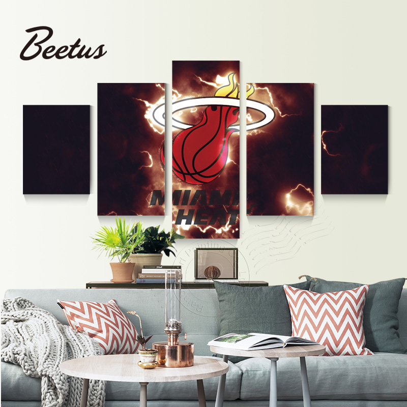 5 Panel Miami Heat Sport Logo Basketball Poster Paintings