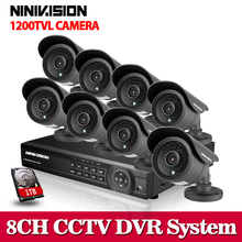 HD 1200TVL 8CH FULL AHD 960H security system CCTV 3G Wifi DVR KIT 8*outdoor bullet camera video surveillance System with 1TB HDD