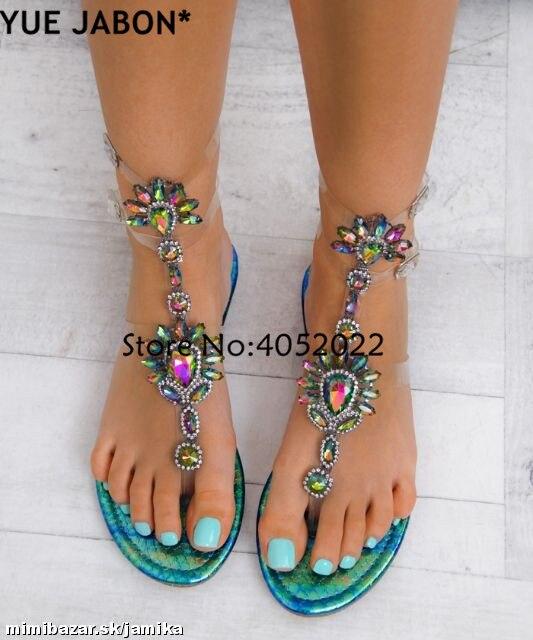 0c0e76e8054 2018 Woman Sandals Women Shoes Rhinestones Gladiator Flat Sandals Crystal  Chaussure Plus Size 43 tenis feminino Green Flip Flops