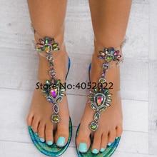 0ad8cf380fa7f6 2018 Woman Sandals Women Shoes Rhinestones Gladiator Flat Sandals Crystal  Chaussure Plus Size 43 tenis feminino