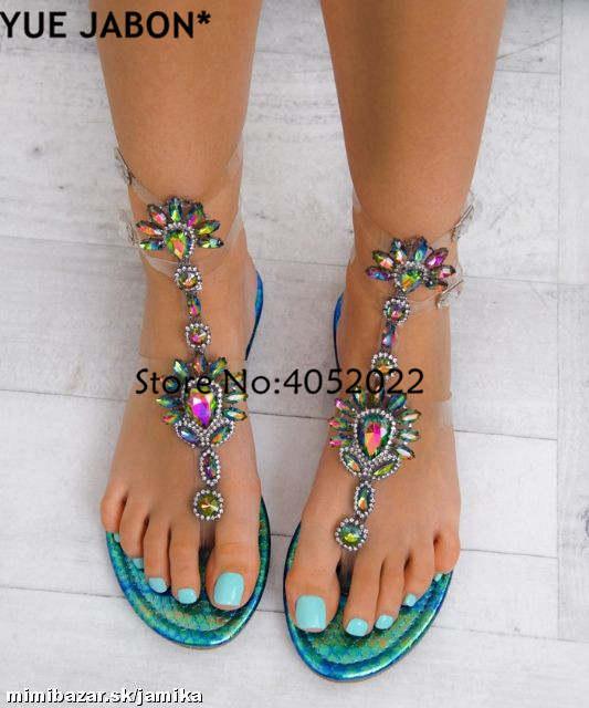 71bffde7df US $19.33 41% OFF|2018 Woman Sandals Women Shoes Rhinestones Gladiator Flat  Sandals Crystal Chaussure Plus Size 43 tenis feminino Green Flip Flops-in  ...