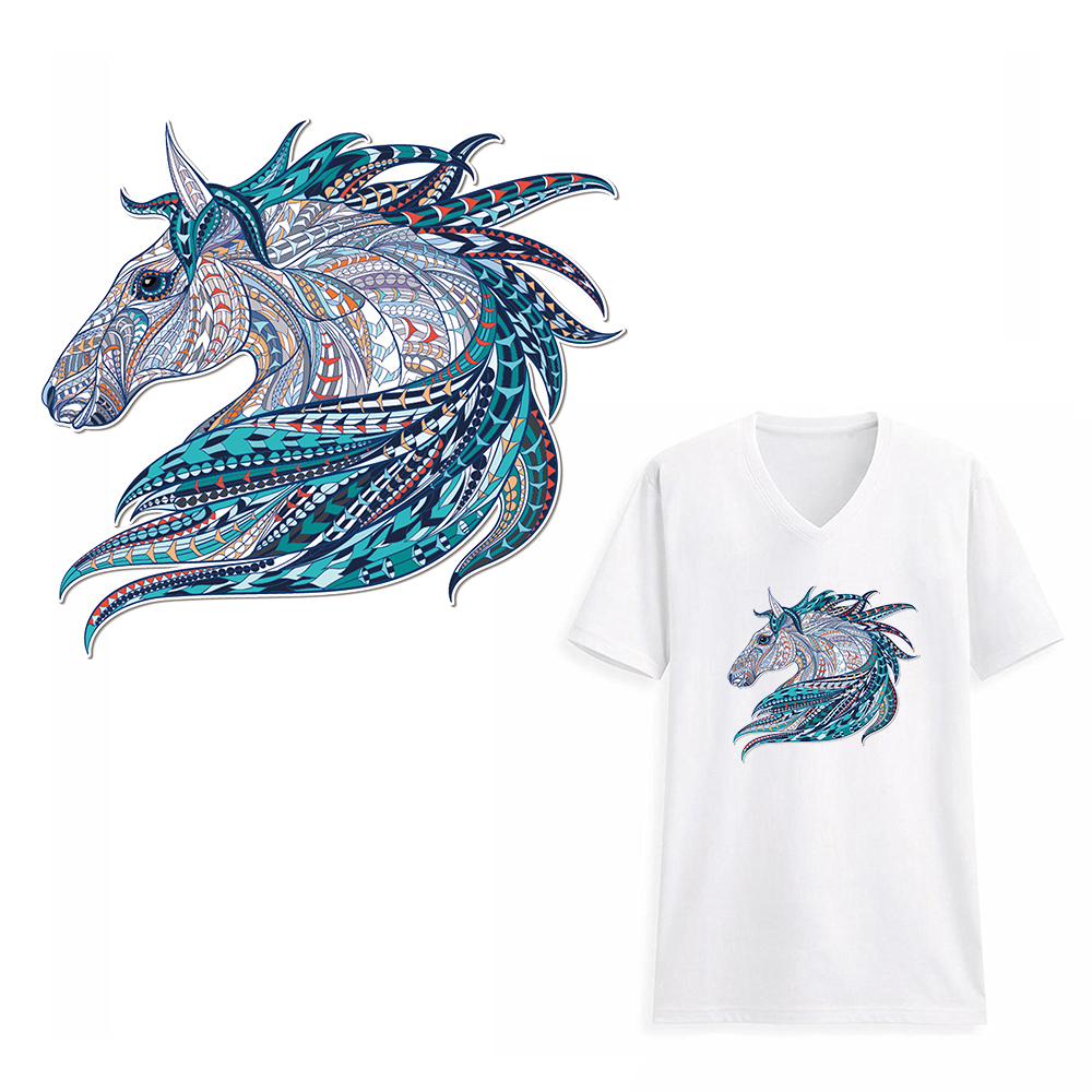 Funny 3D Horse Clothes Patch Stickers for Tops T-shirts Household Iron on Transfers DIY Decoration Appliqued for Tote Curtain