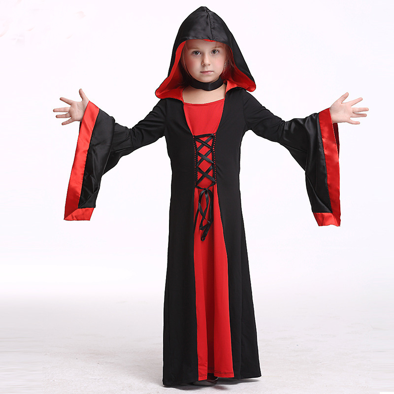 ФОТО Halloween Party Girl Dress Kids Cosplay Performance Costume Dresses Girls Clothes Christmas Hooded Outwear Clothing-resale