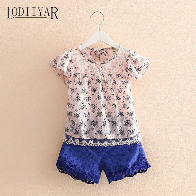 Toddler Girl Clothing Set New Lace Flower Short Sleeve Shirt + Short Pants Princess Korean Kids Suit Child Clothes Summer Autumn