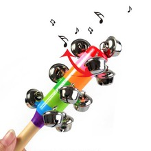 Hot sale 1pcs cute Wooden stick Rainbow Hand Shake bell Baby Rattles Jingle bells Infant Shaker Rattle ring educational toy DS29