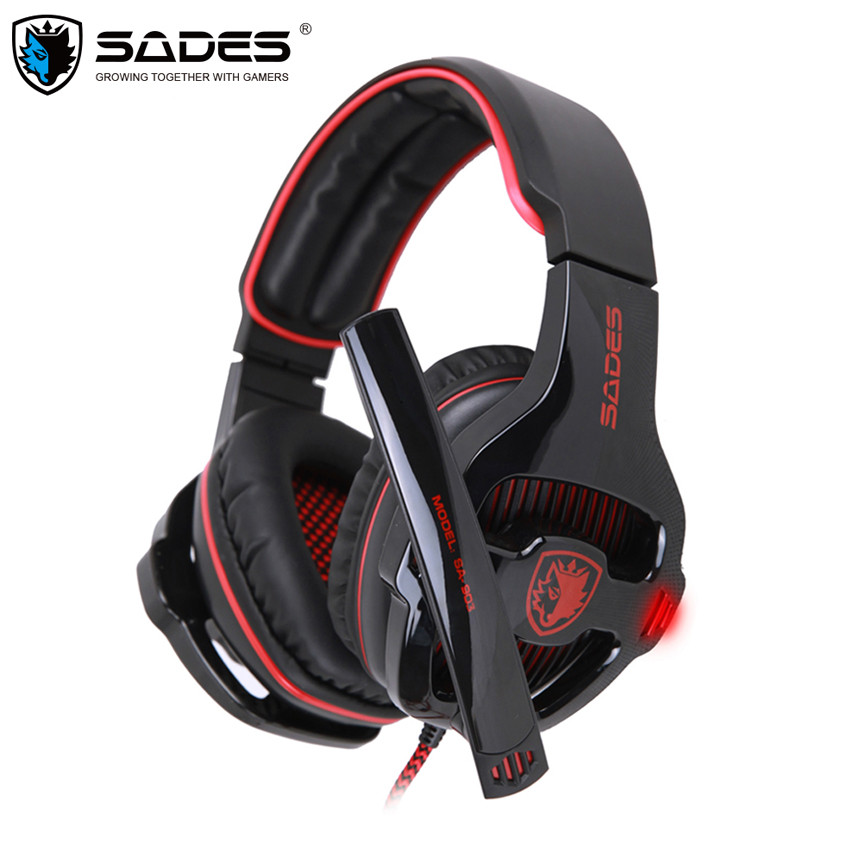 Sades SA-903 Gaming Headset Best casque 7.1 Surround Sound USB Wired Headphones with Microphone Volume Control for PC Gamer sades sa 902 gaming headphones with microphone mic led light usb 7 1 surround sound pc headset gaming earphone for compuer gamer