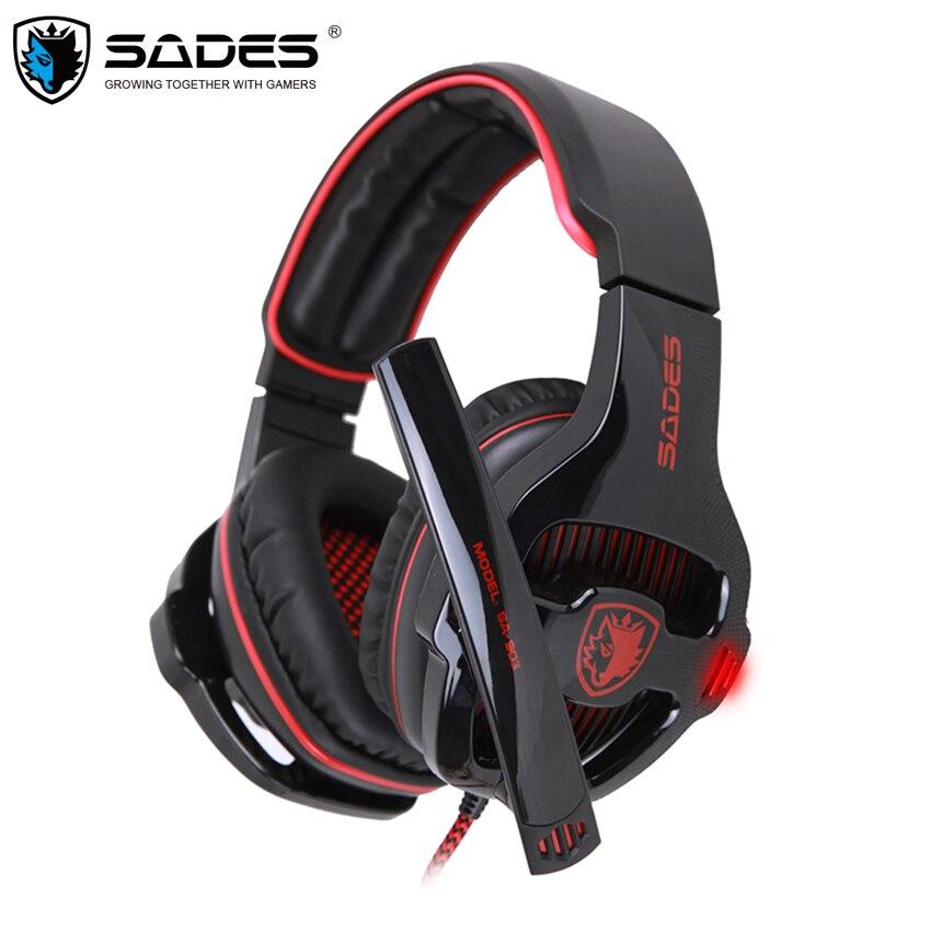 Sades SA-903 Gaming Headset Beste casque 7,1 Surround Sound USB Verdrahtete Kopfhörer mit Mikrofon Lautstärkeregler für PC Gamer