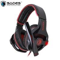 Sades SA-903 Gaming Headset Melhor casque Som Surround 7.1 USB Wired Fones De Ouvido com Controle de Volume do Microfone para PC Gamer