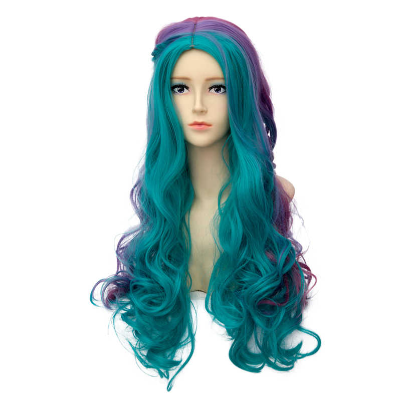 Плетение стиль длинный кудрявый парик цвета радуги Косплей Костюм синтетические волосы Perucas Мода Harajuku Лолита длинные красочные волосы