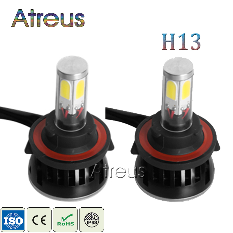 Atreus 1Pair LED H13 High/Low Headlights 40W*2 4000LM*2 3000K 6000K COB Auto car Light Driving Fog Lights 12V Headlamp Bulbs Kit