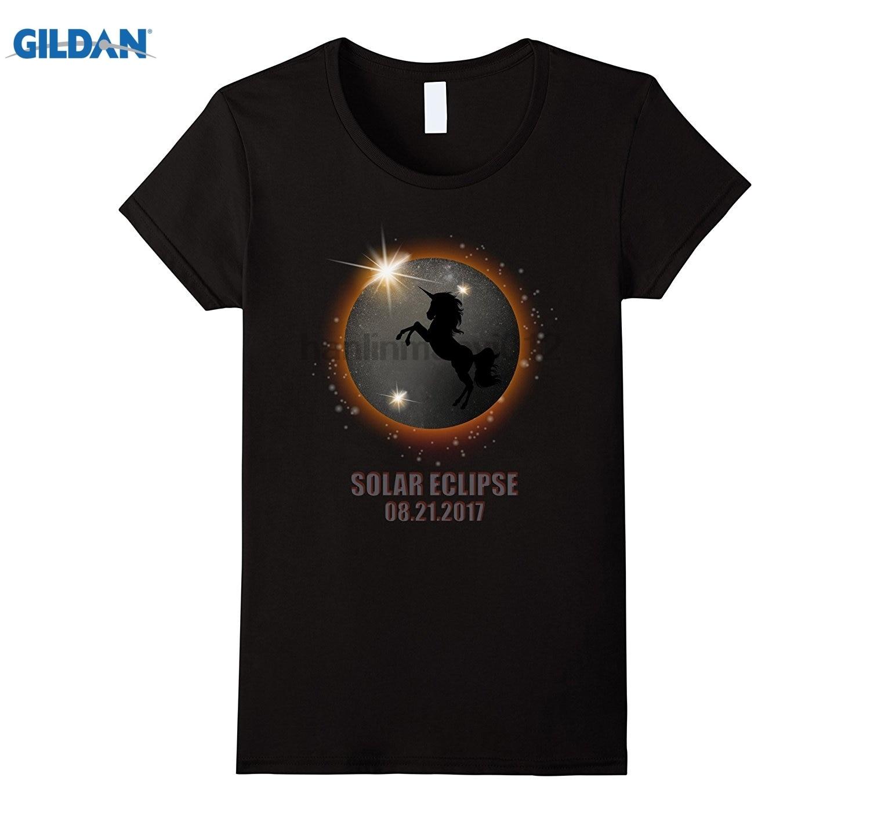 GILDAN Unicorn in Total Solar Eclipse August 21 2017 Funny t shirt Hot Womens T-shirt