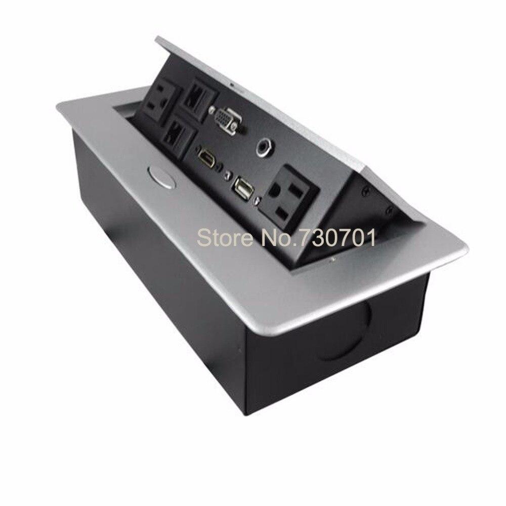 Thin round panel USA video VGA USB desktop socket hidden in the furniture table