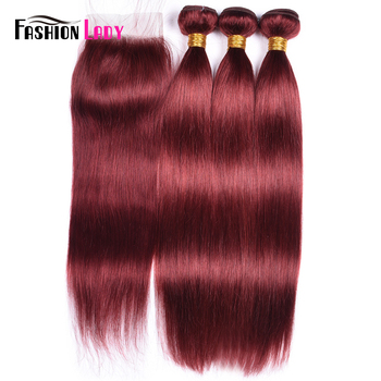 Fashion Lady Pre-Colored Red Brazilian Hair Straight With Lace Closure 33# 3Pcs Human Hair Bundles With Closure Non-Remy