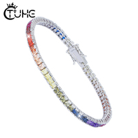 High Quality S925 Sterling Silver Bracelet Square Crystal CZ Gay Pride Rainbow Magnetic LGBT Charms Bracelet Wholesale