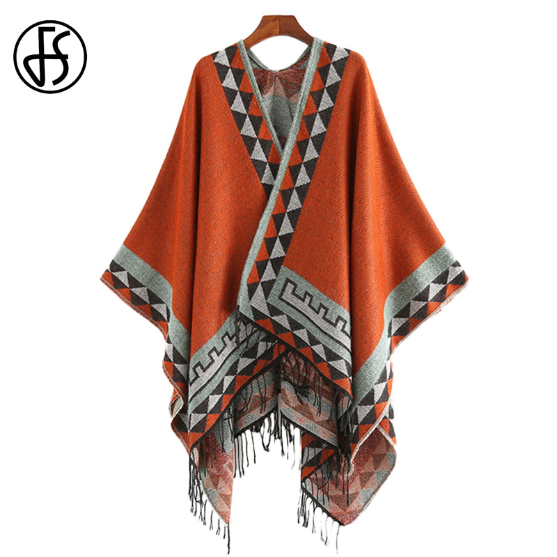 FS Indian Style Fashion Geometric Tassel Pashmina Poncho And Capes Coat Women Scarfs Autumn Winter Warm Shawl Cachemire Scarves