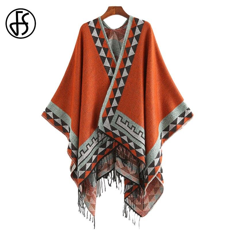 FS Style indien mode géométrique gland Pashmina Poncho et Capes manteau femmes écharpes automne hiver chaud châle Cachemire écharpes