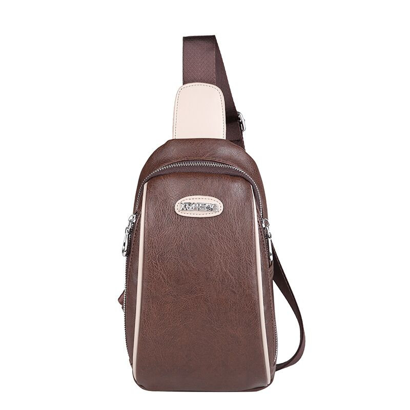 FEESIY PU satchel bag is a mans feminine vintage leather waterproof messenger breast bag shoulder strap large volume handbag wi
