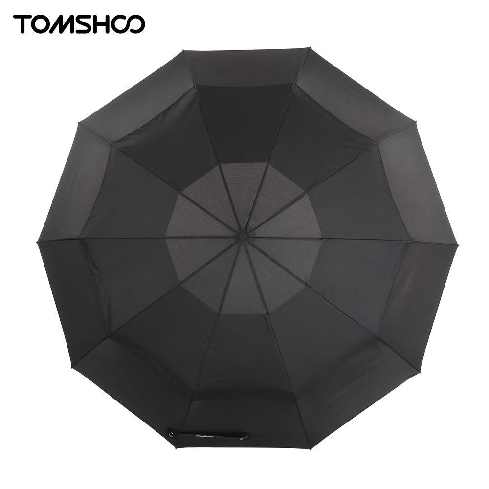 TOMSHOO Top Quality Umbrella Rain Windproof Double Canopy Automatic Auto Open Close Umbrella Outdoor Travel Golf Umbrella 10 Rib