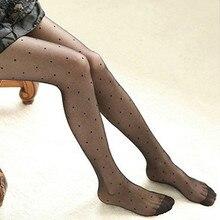 Сексуальные женские чулки, летние тонкие прозрачные жаккардовые колготки, милые женские винтажные колготки с имитацией татуировки, Колготки в горошек
