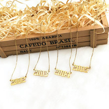 METOO Uniquel Date Number Pendant Necklace Kids Old English Necklace Numbers for Women Custom Jewelry Stainless Steel 1985-2005(China)