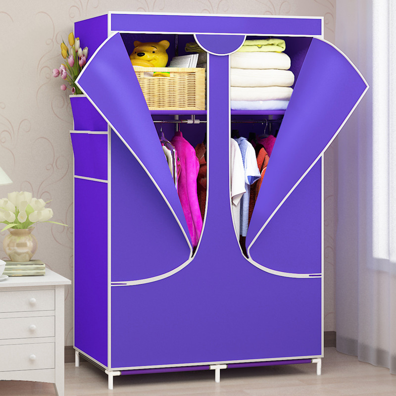 Fashion Wardrobe Non-woven Steel Pipe easy assembly Removable Can move Storage shelf Clothes storage cabinets bedroom furniture simple fashion moistureproof sealing thick oxford fabric cloth wardrobe rustproof steel pipe closet 133d