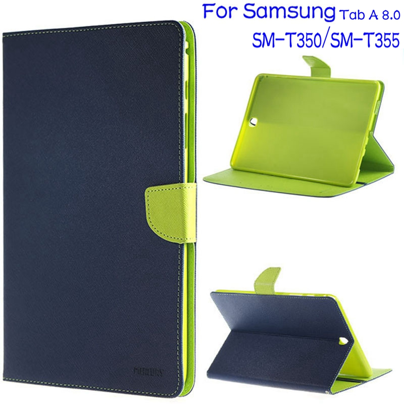 3 in 1 Ultra-thin Stand Smart Jeans Leather Cover Case for Samsung Galaxy Tab A 8.0 T350 T355 Tablet+Free Screen Protector+Pen ultra thin smart pu leather cover case stand cover case for 2015 lenovo yoga tab 3 8 850f tablet free film free stylus