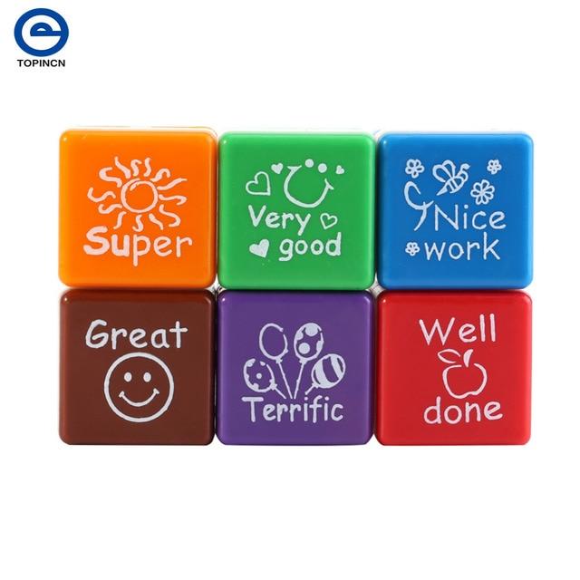 Kids Stamp Set Motivation Sticker School Scrapbooking DIY Teachers Self Inking Praise Reward Stamps For