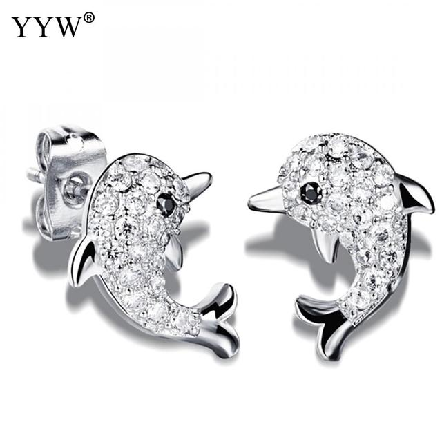 75e1cb6ac Stainless Steel Stud Earrings Dolphin plated micro pave cubic zirconia &  for woman more colors for