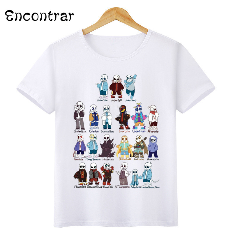 Kids Game Undertale Sans Design T Shirt Boys/Girls Casual Short Sleeve Tops Children's Funny T-Shirt,HKP3053 buttons design shawl collar short sleeve t shirt