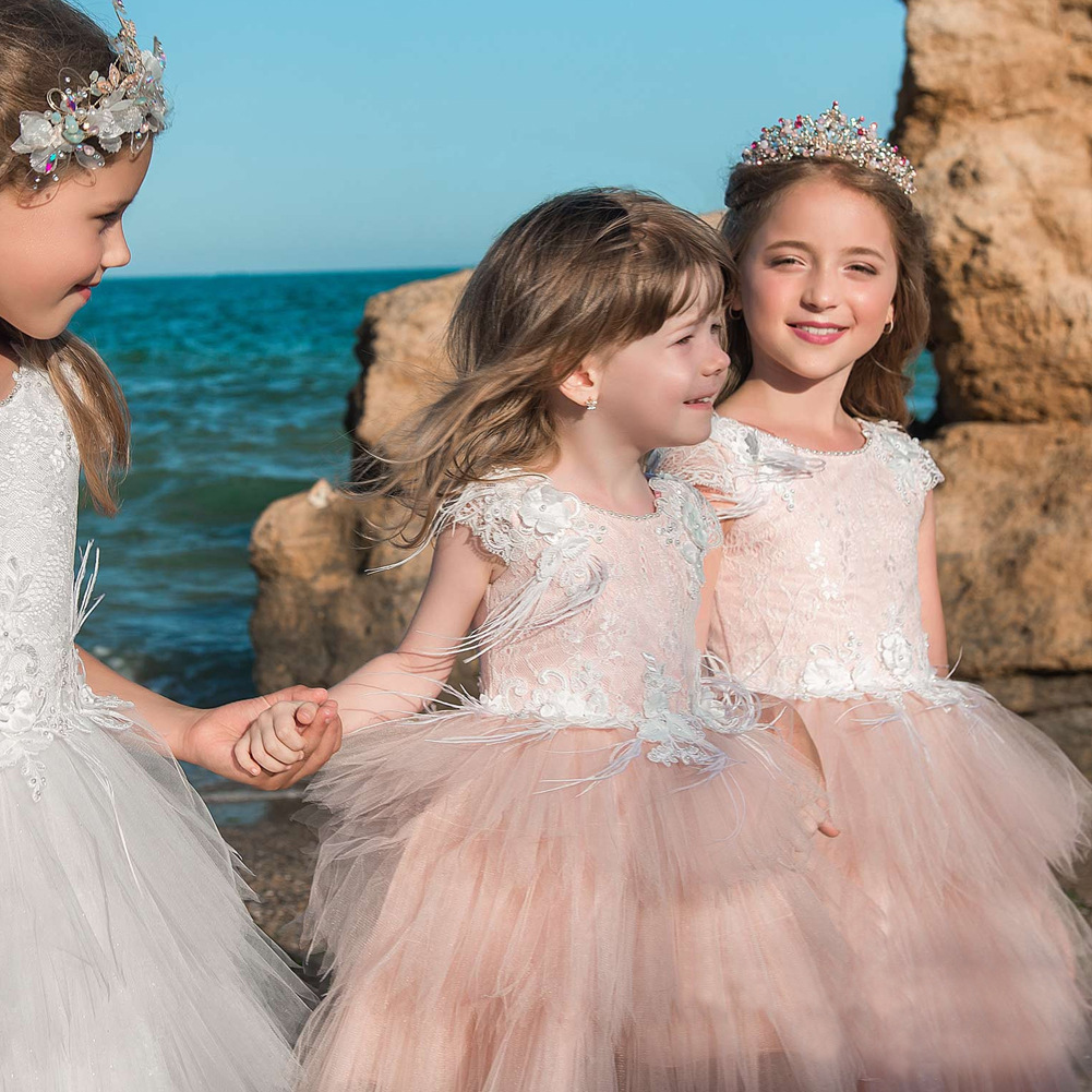 Retail Feather Flower Embroidery 2Pcs Lace Tutu Princess Wedding Party Baby Girl Dress Costume Kids Dresses For Girls M-4548Retail Feather Flower Embroidery 2Pcs Lace Tutu Princess Wedding Party Baby Girl Dress Costume Kids Dresses For Girls M-4548