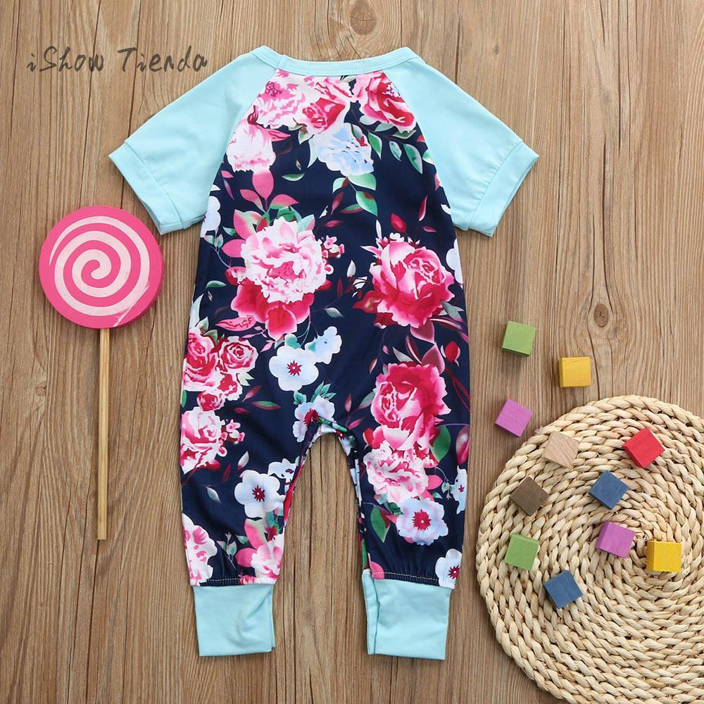sliders for girl Flower Print Splice Short Sleeve Baby costume jumpsuit baby Romper summer baby overall newborn onesie baby body