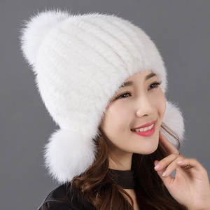 6f40c127984 TZRPC Imported hair Weave winter Ear Fox Mink knitting Hats