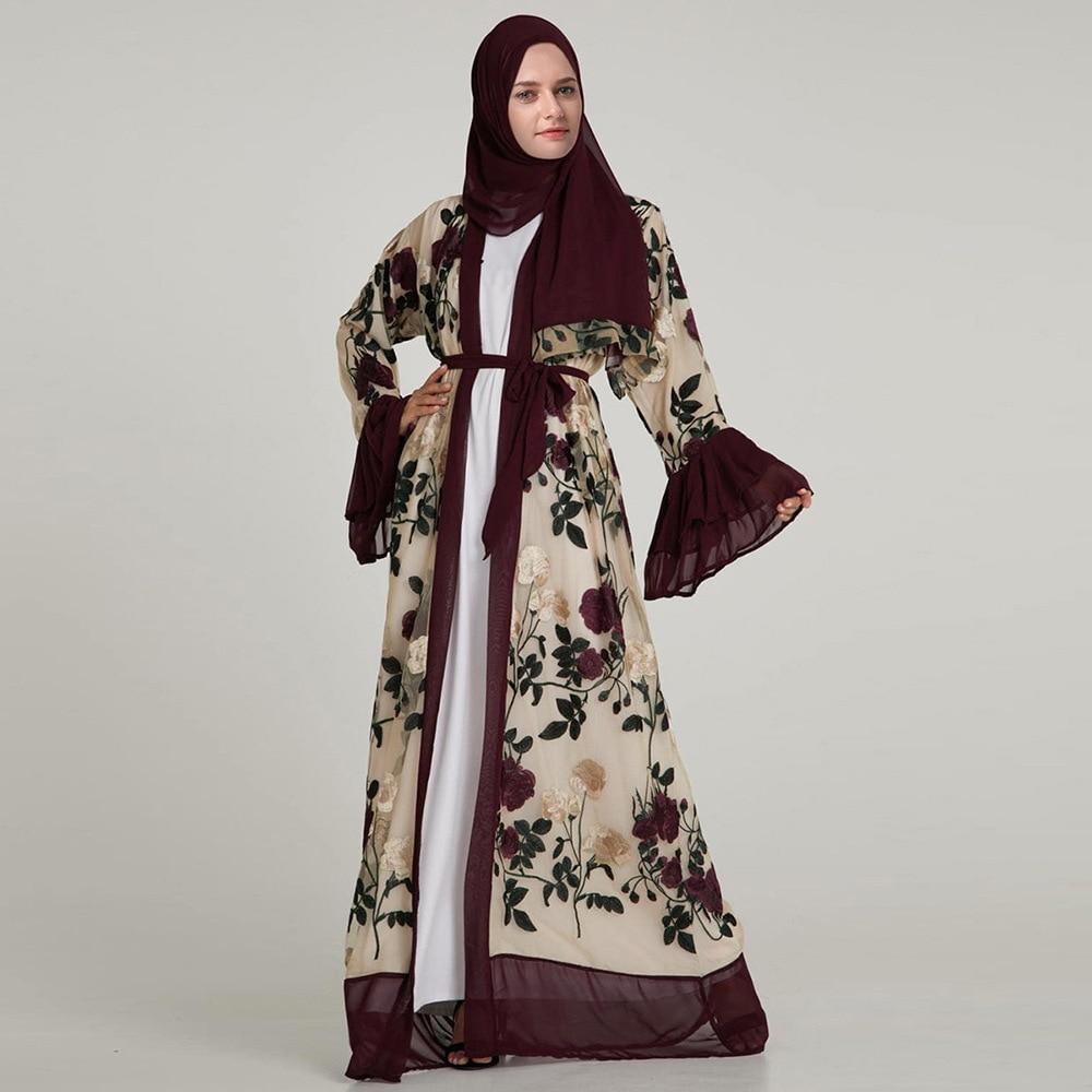 Abaya Jilbab Floral Design Dark Brown