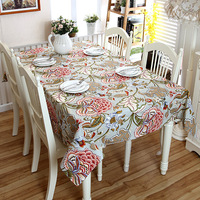 SunnyRain 1 Piece Thick Cotton Canvus Colorful Plantains Flowers Table Cloth Square Tablecloth Rectangle Table Cover