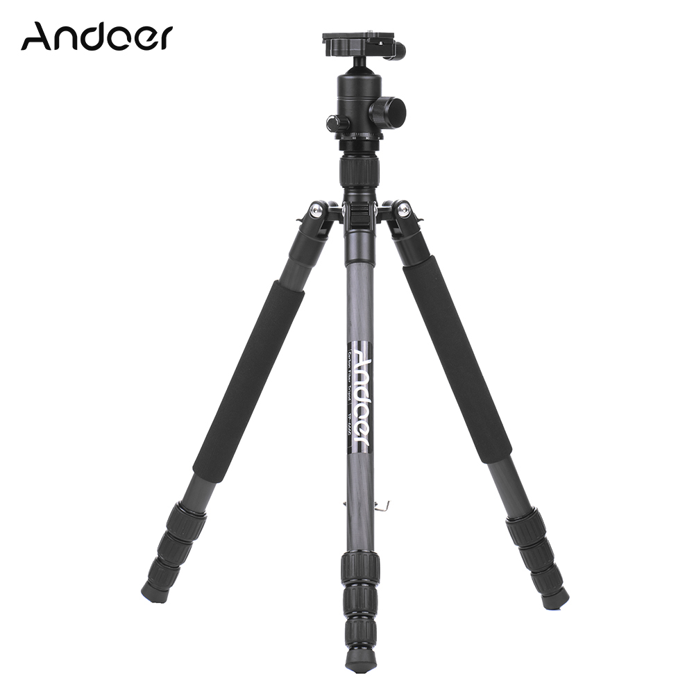 Andoer gorillapod TP 666C Professional Camera Tripod 4 Sections Carbon Fiber Tripod with Ball Head for
